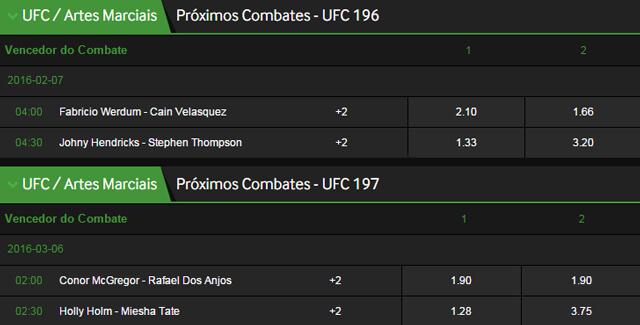 Odds UFC Betway