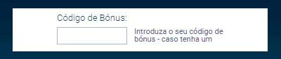 Screenshot Campo Código de Bônus