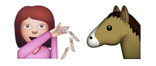 Emoji Girl Throwing Money to Horse
