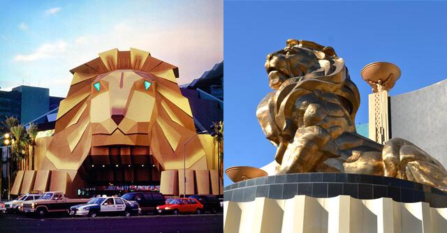 Leão na Entrada do MGM Grand Hotel & Casino - Antes e Depois