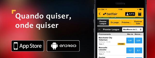 Aplicação Móvel iOS Android Betfair
