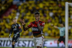 Bruno Henrique comemora mais um gol pelo Flamengo